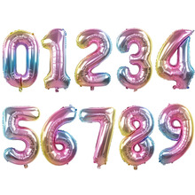 32inch Iridescent Rainbow Color Number Foil Balloons Birthday Wedding Party Decoration Digital Balloon Air Ballon Globos