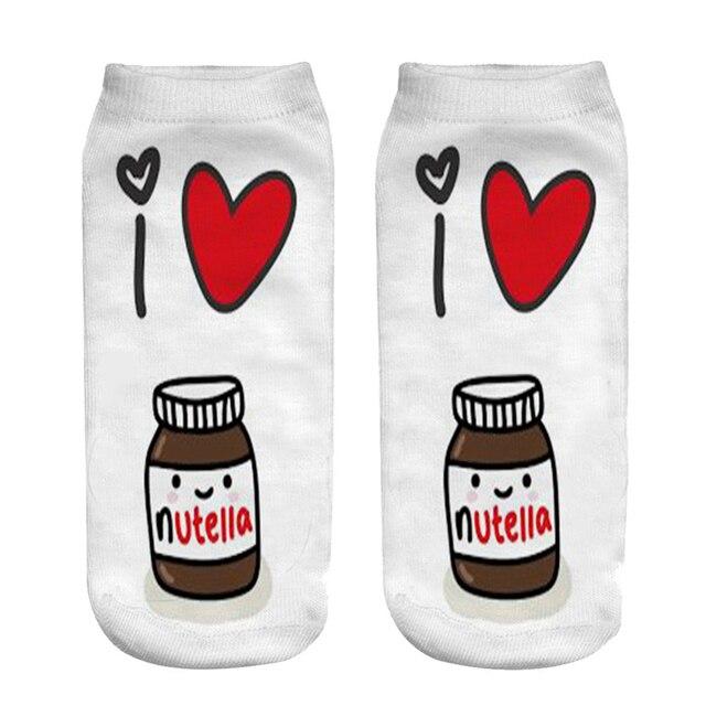 """1Pair/Pack 3D White """"Nutella""""Charactor Unisex Socks Hot Women's Unisex Socks Polyester Fashion Women Socks"""