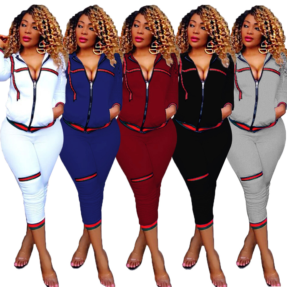 Black/White/Blue/Wine Autumn/Winter Style Women Set Two Pieces Front Zipper Up With Pockets Tops Calf-length Pants Suits Online