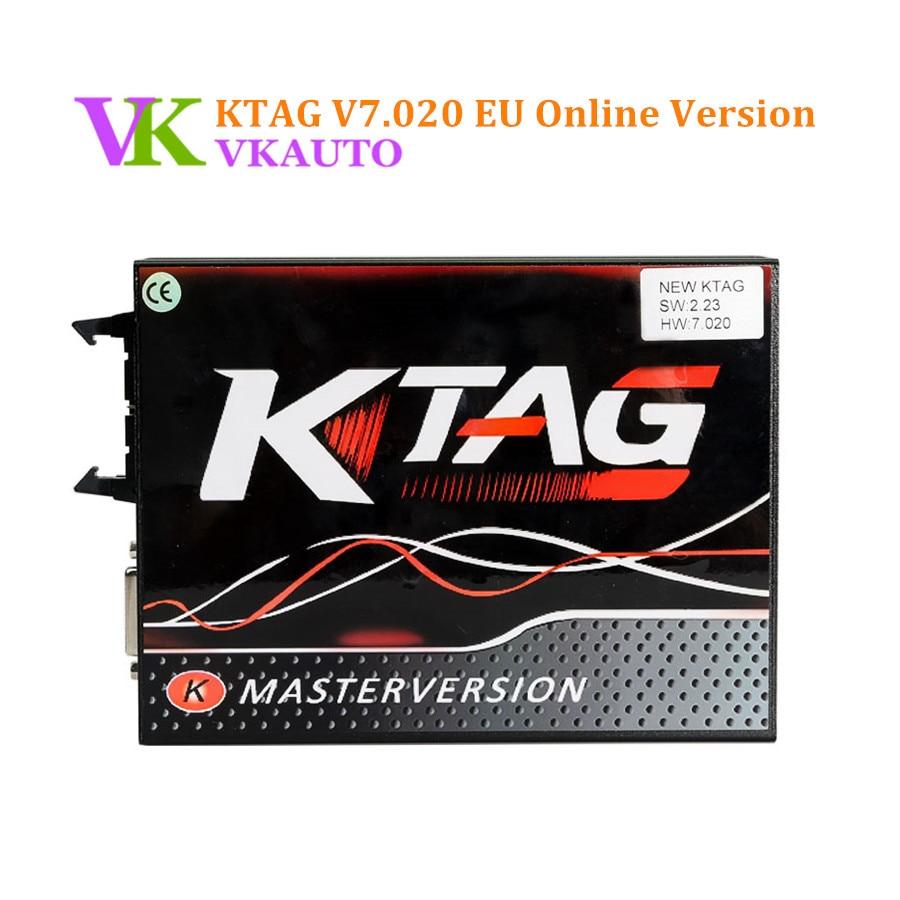 New V2.23 KTAG K-TAG V7.020 EU Online Version Red PCB No Tokens Limitation Free Shipping