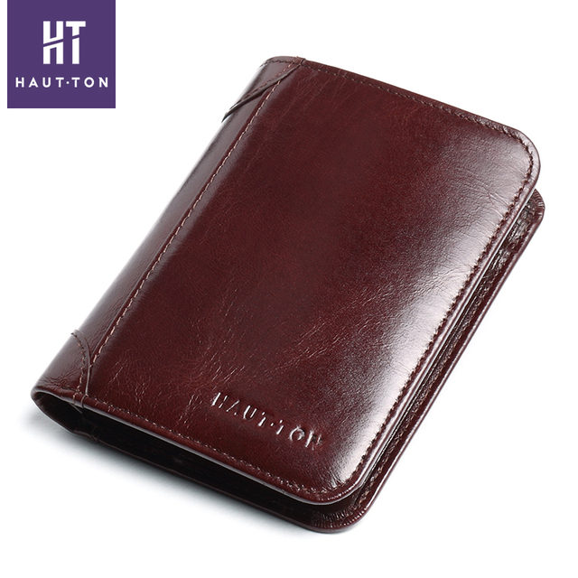 Haut Ton Luxury Men Wallets Genuine Leather Business Male Brand Wallet Trifold Purse Credit Card Holder