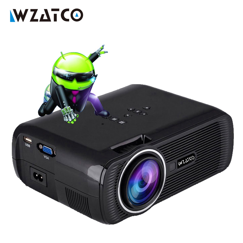 WZATCO Quad core Android 6 0 wifi portable led TV projector hd 3d home theater video