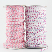20 yards 9mm unicorn elastic ribbon 3/8 inch cartoon fold over polyester printed stretch webbing elastic ribbon for headbands