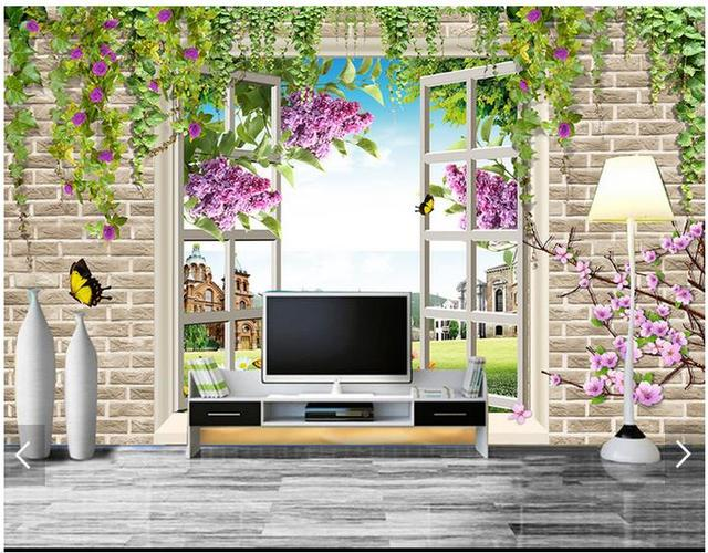 Custom 3d Photo Wallpaper 3d Wall Mural Wallpaper Flowers And Plants  Landscape Setting Wall Outside The Part 87