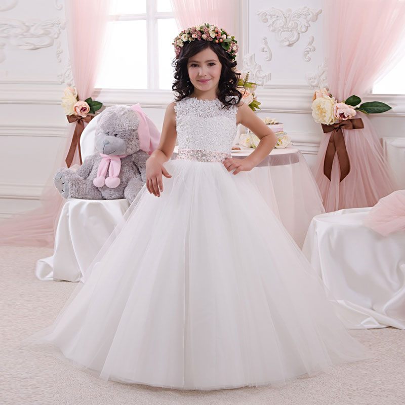 2018 New Arrival Elegant Lace Embellished Girl First Communion Dress Beaded Sash Lace Up Kids Wedding Party Dress 2-12 Year Old new beautiful lace white blue lace flower girl dress kids birthday gown first communion dress vestidos de primera beaded sash