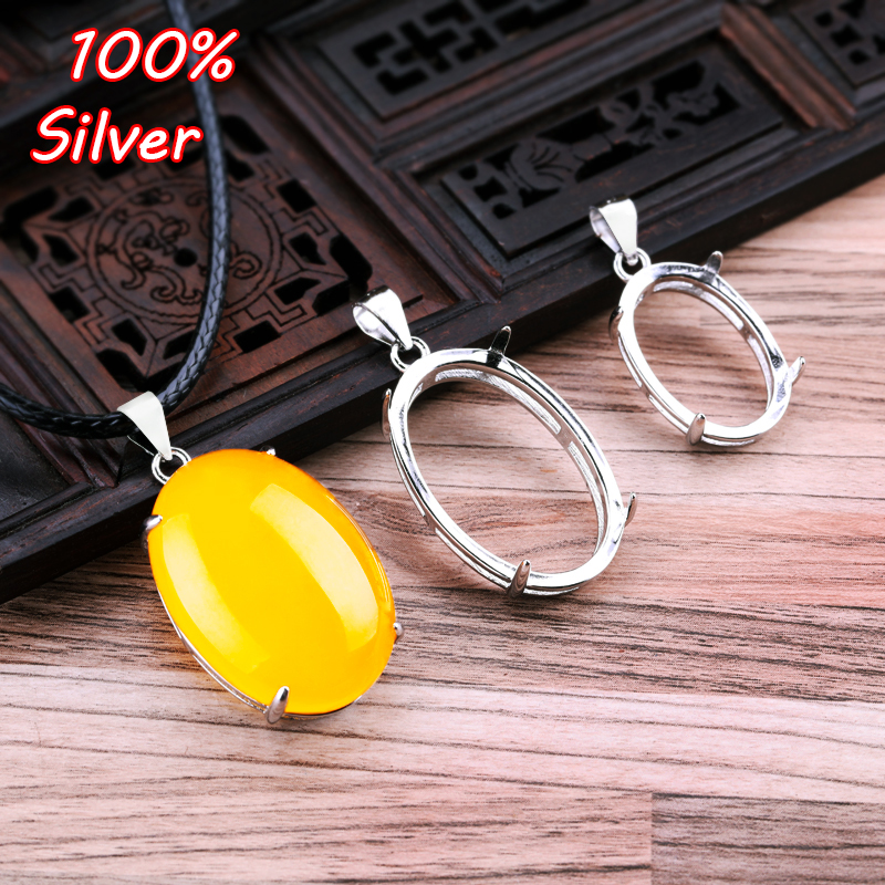 100% 925 Sterling Silverr Color  Plated Platinum Oval Pendant Blank Base Fit 17x25mm/13x19mm/25*35mm Jewelry Making