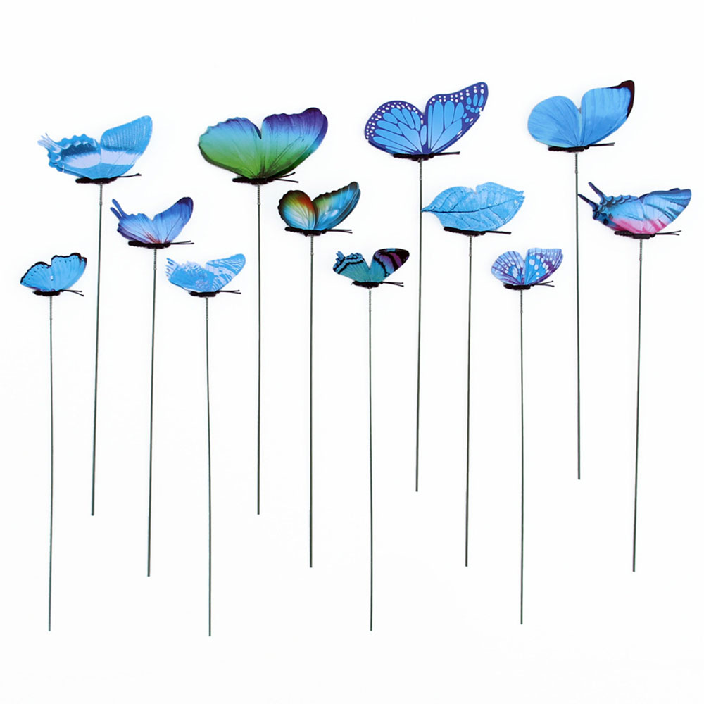 1 Pack Butterfly Garden Decor Garden Ornament On Sticks Yard Artificial Gardening Insect Outdoor Garden Lawn Craft 3D Flowerpot