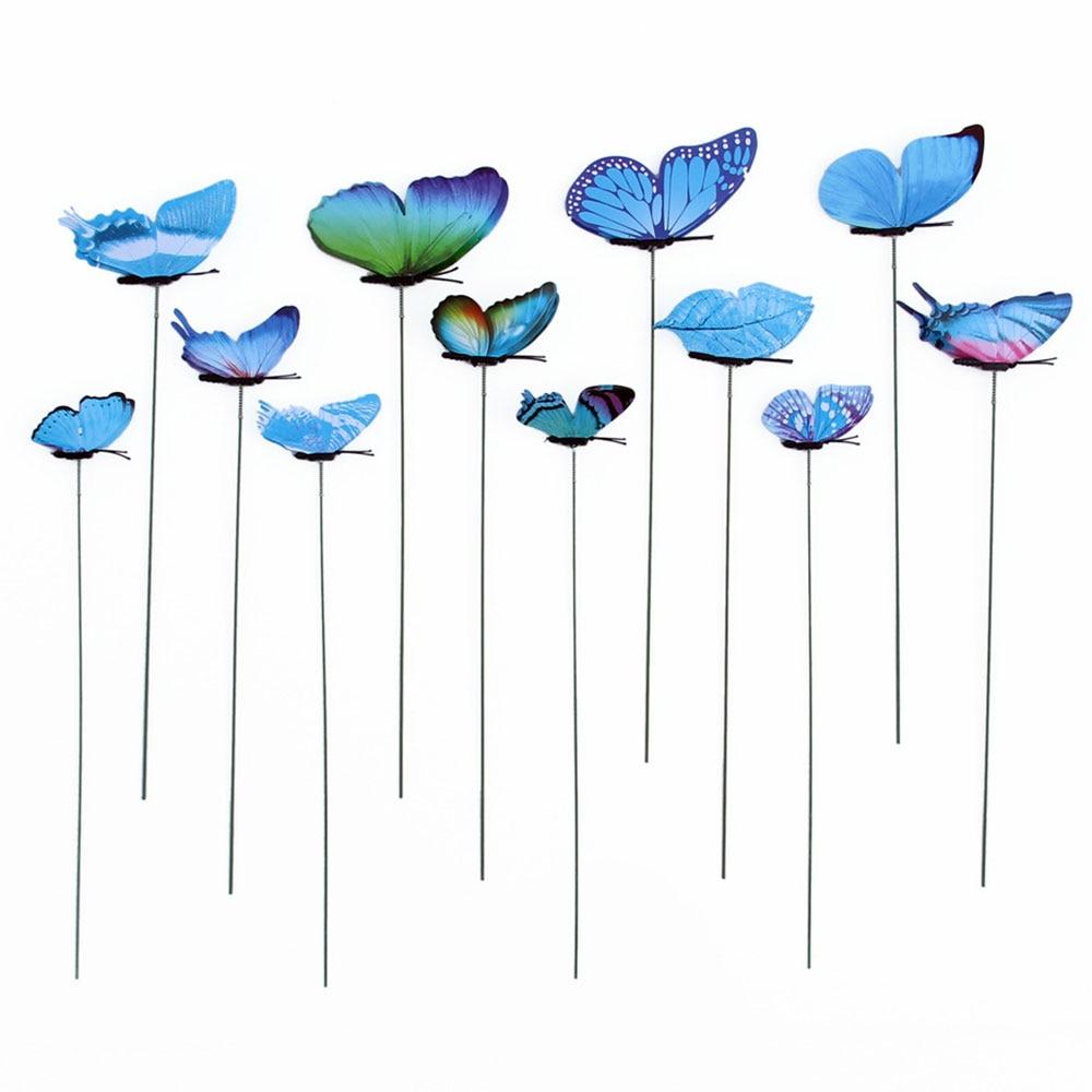 12pcs/Pack Butterfly Garden Decor Garden Ornament On Sticks Yard Artificial Gardening Insect Outdoor Lawn Craft 3D Flowerpot
