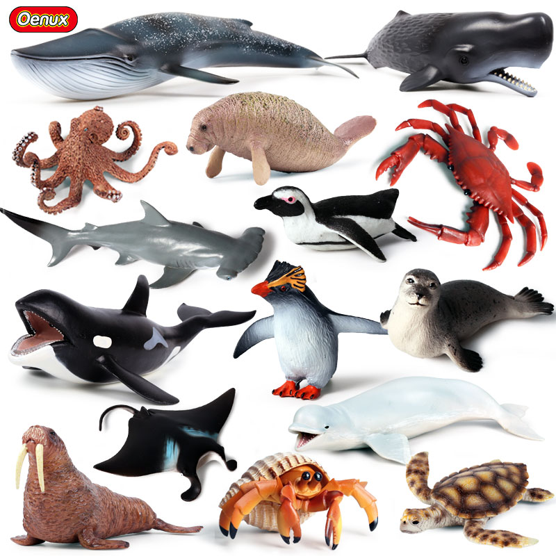 Oenux Original Sea Life Animals World Whale Shark Crab Turtle Dolphins Action Figure Aquarium Ocean Model Education Kids Toy image