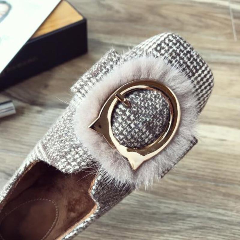 Fourrure Yx490 Dames Chaussures marron Femmes Élégantes D'hiver Luxe Noir De Appartements Parti z0wPxqE5