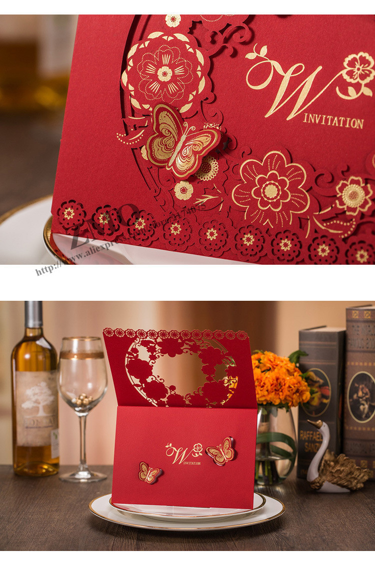 Laser Cut Wedding Invitations Card with Embossed Flowers Wedding ...