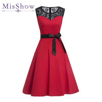 MisShow Patchwork Ball Gown See Through Black Lace O Neck Knee Length Party Dress Plus Size
