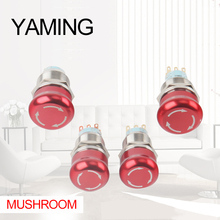 19mm/22mm Latching Metal Waterproof aluminum Push Button Switch Red Round Mushroom Emergency Stop Button Press Button 2NO 2NC [vk] rafi button switch lumotast 22 emergency stop rafi switch button 1 15 105 011 0000 2nc with led
