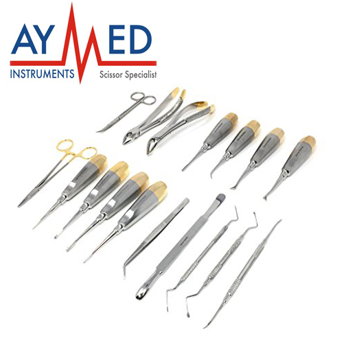 17 pieces set Dental Elevators & Periotomes - instruments scissors - forceps - extracting - etraction - crown remover