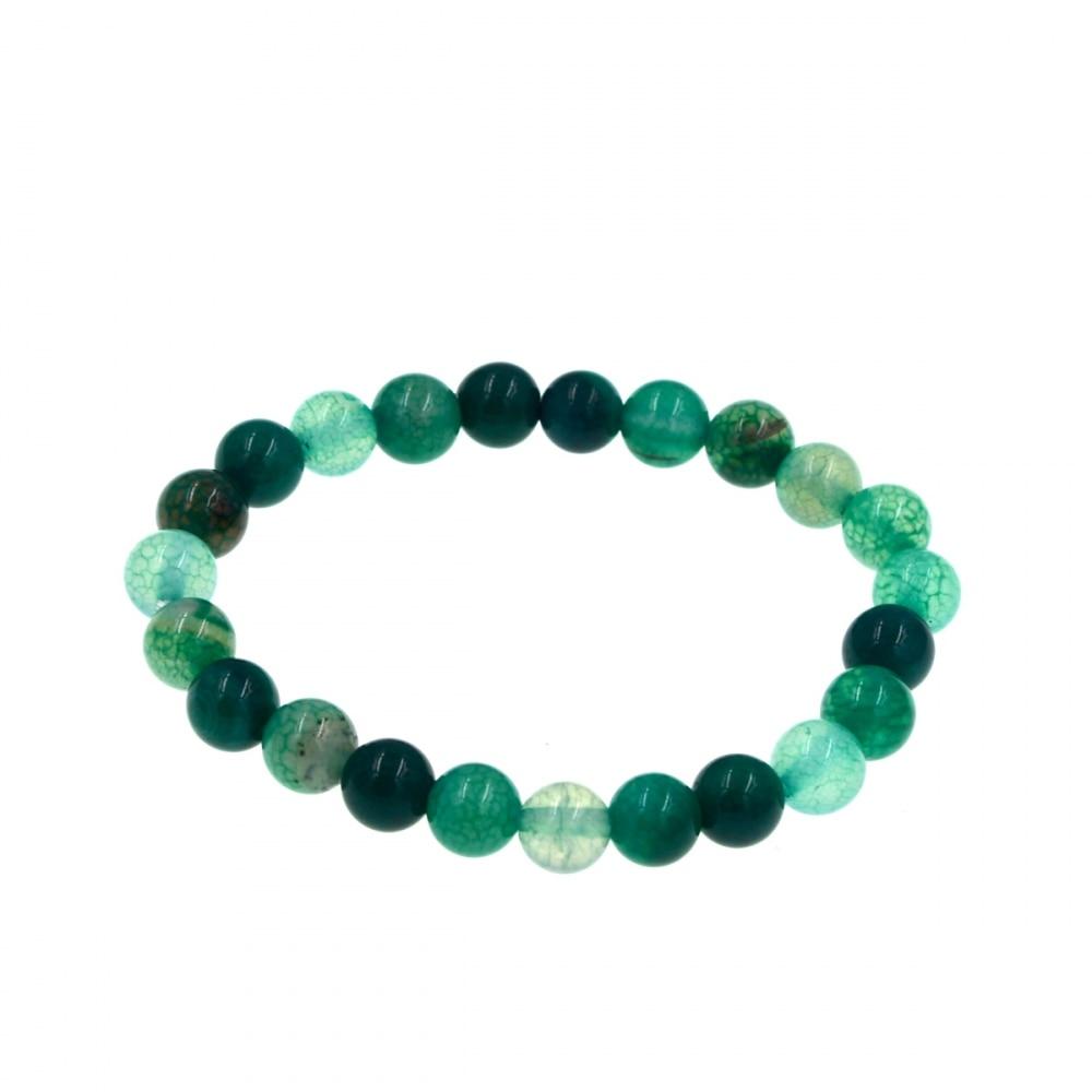 10mm Fashion Natural Multicolor Dragon Veins Agate Round Gems Stretchy Bracelet