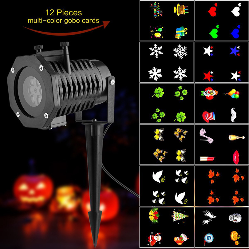 12pcs Patterns Outdoors laser Projector Lamp Christmas Holiday Party Decoration Landscape Projector led Stage Lights Garden Lamp mipow btl300 creative led light bluetooth aromatherapy flameless candle voice control lamp holiday party decoration gift