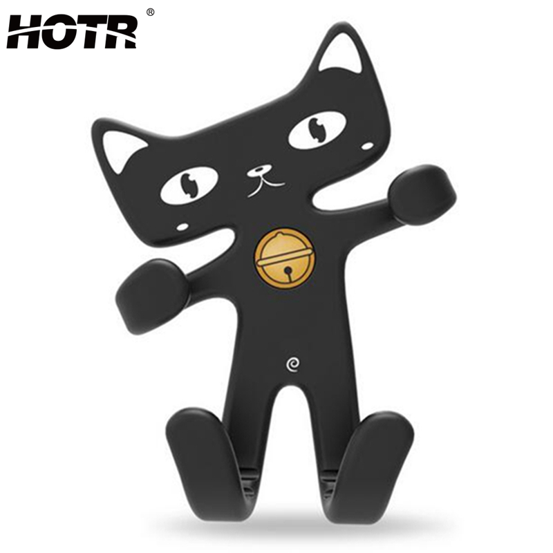 HOTR Universal Flexible Soft Rubber Cat Car Holder Fashion Cute Air Vent Mount Car Phone Holder Silicone Mobile Phone Holder