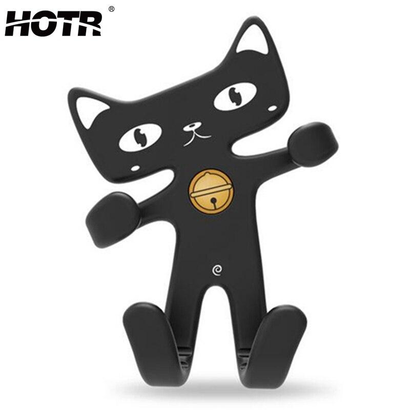hotr universal flexible soft rubber cat car holder fashion cute air vent mount car phone holder silicone mobile phone holder in mobile phone holders