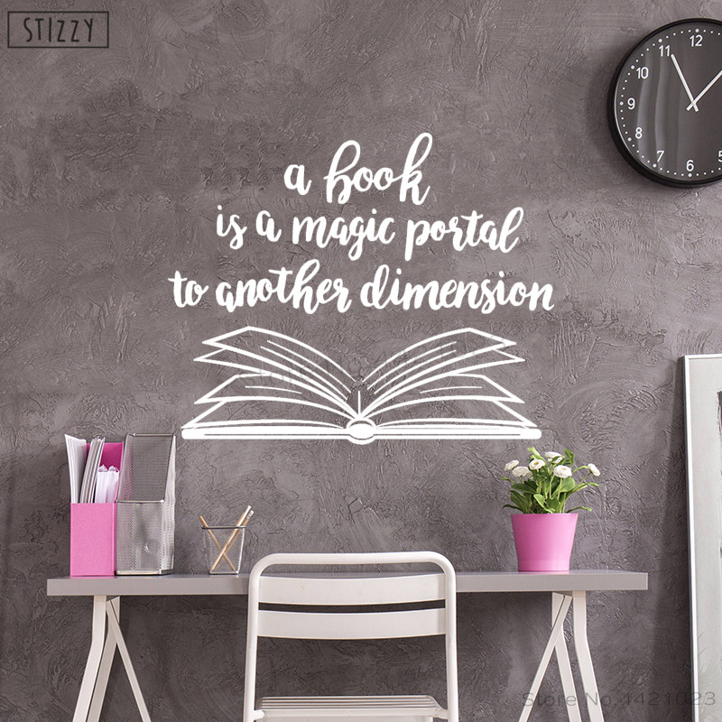 US $7 06 28% OFF|STIZZY Wall Decal Library Quotes Book Is A Magic Portal  Vinyl Wall Stickers Creative Classroom Decoration Kids Room Decor C149-in