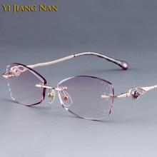 Yi Jiang Nan Brand Diamond Trimmed Rimless Titanium Eyeglasses Frames Women Fashion Glasses Rhinestone Purple Lenses
