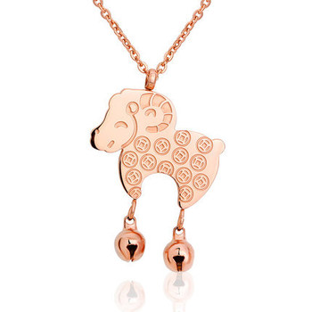 YUNRUO Bell Sheep Pendant Choker Necklace Fine Jewelry Titanium Steel Rose Gold Color 2020 New Present