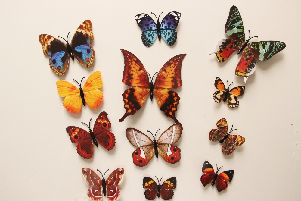Free shipping 12pcs pvc 3d butterfly wall decor cute for 3d butterfly decoration