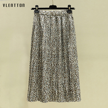 2019 New Fashion elegant Pleated skirt women vintage leopard print Female Spring summer casual Womens midi