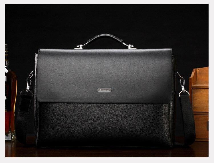 Famous Brand Business Men Briefcase Leather Laptop Handbag Casual Man Bag For Lawyer Shoulder Bag Male Office Tote Messenger Bag