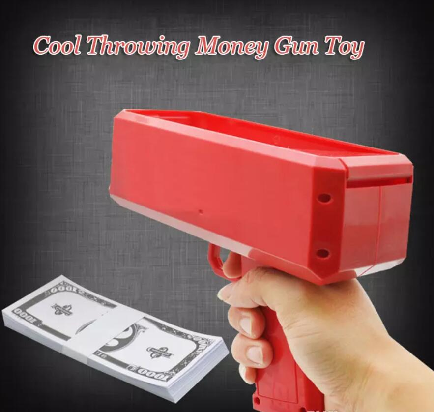 Make It Rain Money Gun Red Toy Christmas Gift Party Toys Game 100PCS Cash Fashion Money Gun Toys