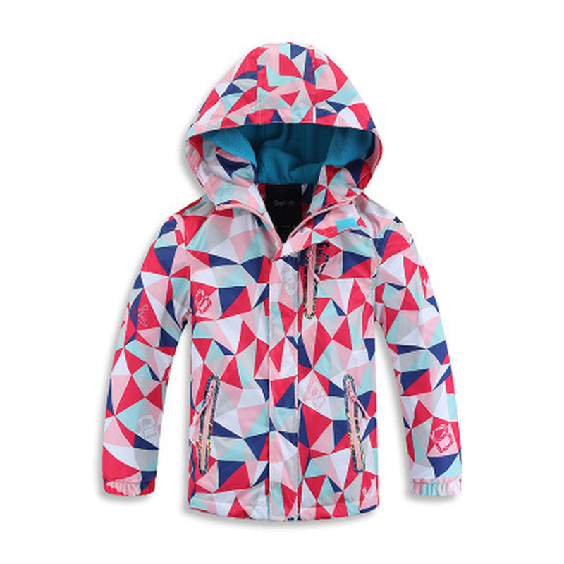 School New Girls Waterproof Breathable Outdoor Children   Trench   Printed Open-cut Jacket with Hooded Jacket   Trench   Coat Outerwear