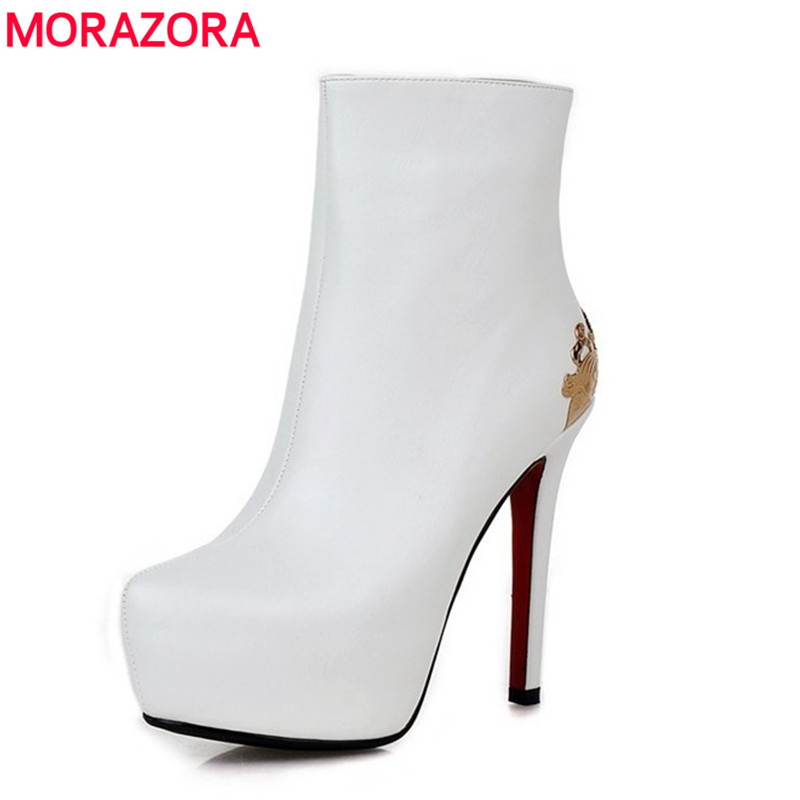 MORAZORA 2017 Fashion autumn stiletto high heels  shoes round toe platform ankle boots high quality PU soft leather womens boots ankle wrap pantshoes hasp korean stiletto heels nice cusp pu red sole shoes japanned leather cutwork pu ol
