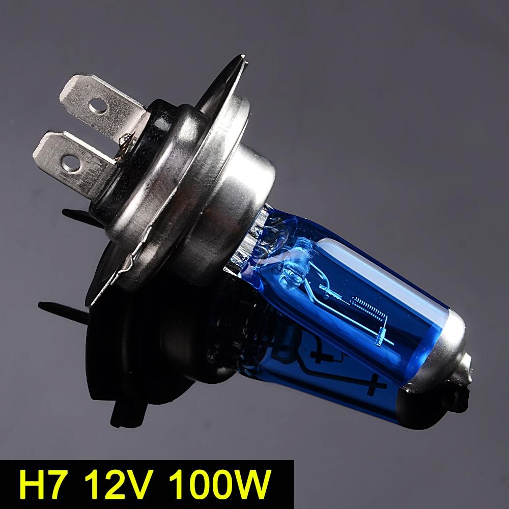 SINOVCLE H7 Halogen Lamp 5000K 12V 100W 2100Lm Xenon Dark Blue Super White Quartz Glass Car HeadLight Replacement Bulb