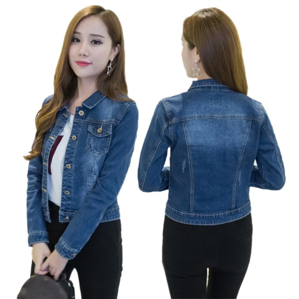 Women Short Jeans Jacket Slim Turn Down Collar Long Sleeve Button Denim Outwear New Chic Vintage