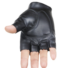 half finger Men Genuine Leather Gloves Lovers Fingerless Mittens Black Half Finger Outdoor Tactical Mens Driving
