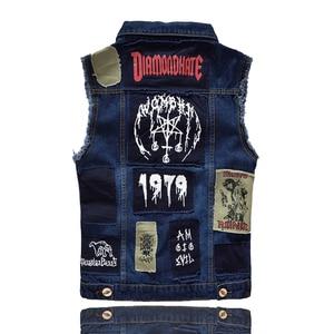 Image 2 - New Hip Hop Mens Patches Design Jeans Vest Ripped Denim Waistcoat Men Denim Vest Man Sleeveless Jeans Vest Frayed MJ 101