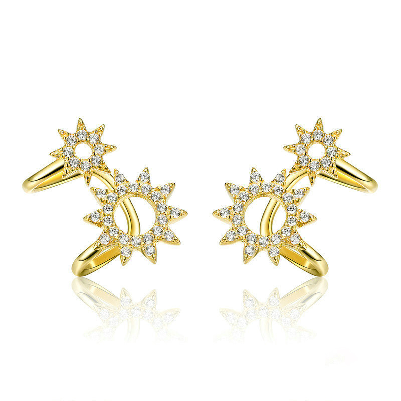 Fashion 925 Sterling Silver Gold Clip on Earrings Non Pierced Earrings Zirconia Gearwheel Crystal Ear Cuffs Punk Rock Earrings(China)