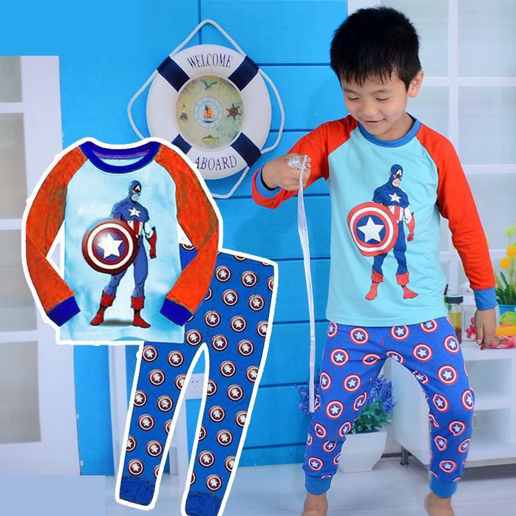 captain america boys pajama set cartoon cotton long sleeve