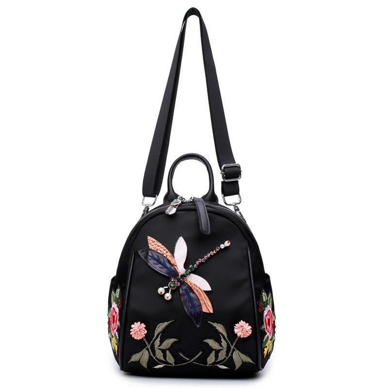6c3234f7771f ... Фото 2 Рюкзак из ткани Оксфорд с вышивкой этнический рюкзак для женщин  водонепроницаемый дорожный ранец школьная ...