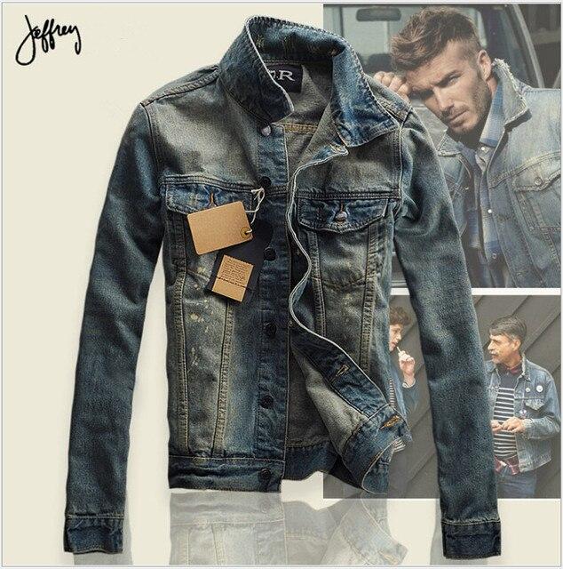 2016 Осень Мужчины Джинсовая Куртка Мужчины Джинсовые Куртки для мужчин стенд воротник 100% Хлопок верхняя одежда джинсовая куртка мужчины Высокого качества