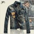 2016 Otoño Hombres Hombres de la Chaqueta de Jean Denim Chaquetas para los hombres del collar del soporte 100% Algodón de abrigo chaqueta de jean de los hombres de Alta calidad