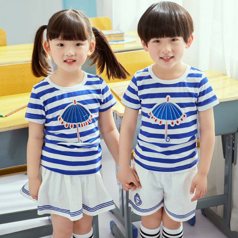 0f308e933adc Summer School Uniform Blue Red Striped Uniforms for Boys and Girls 2pcs  Children Cotton Student Skirt Shorts Set Clothes