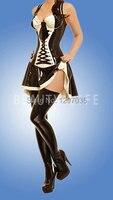 Латексное белье для женщин с чулки весь комплект в том числе платье рюшами и плеча скольжения настраиваемые размеры цвет