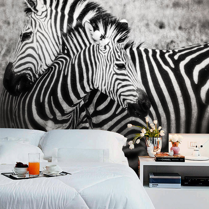 Wholsesale 3d mural Black-and-white zebra animal non-woven bedroom wallpaper photo mural 3d wall murals wallpaper painting mural  free shipping hepburn classic black and white photographs women s clothing store cafe background mural non woven wallpaper