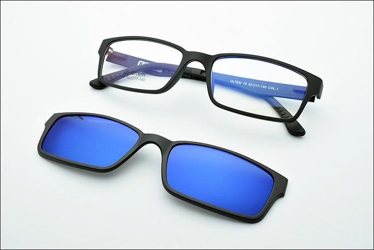 Ультра-светильник, вольфрам, титан, оправа для очков, 3D магнит, зажим, солнцезащитные очки, близорукость, функциональные очки, поляризационные, JKK 79 - Цвет оправы: Black coating