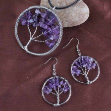 UMY Trendy Silver Plated Amethyst Gravel Tree Life Pendant Necklace Drop Earrings Jewelry Sets
