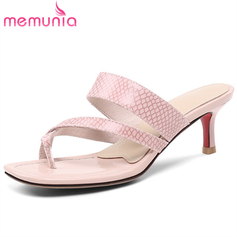 MEMUNIA 2019 new arrival women sandals genuine leather summer flip flops sexy stiletto high heels sandals ladies party shoesMEMUNIA 2019 new arrival women sandals genuine leather summer flip flops sexy stiletto high heels sandals ladies party shoes