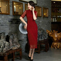 Burgundy Autumn fashion Chinese Tradition Women's Lace Half Long Cheongsam Qipao Dress Formal Evening Party Gown Dress S TO XXL