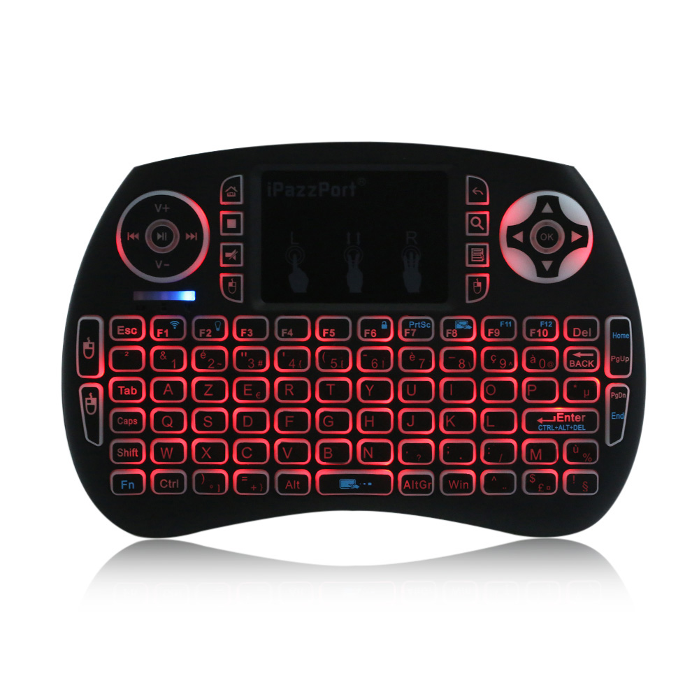 New ipazzport French layout 2.4ghz Wireless Mini Keyboard and Touchpad 3 Color backlight For Tablets Smart Tv and loptops