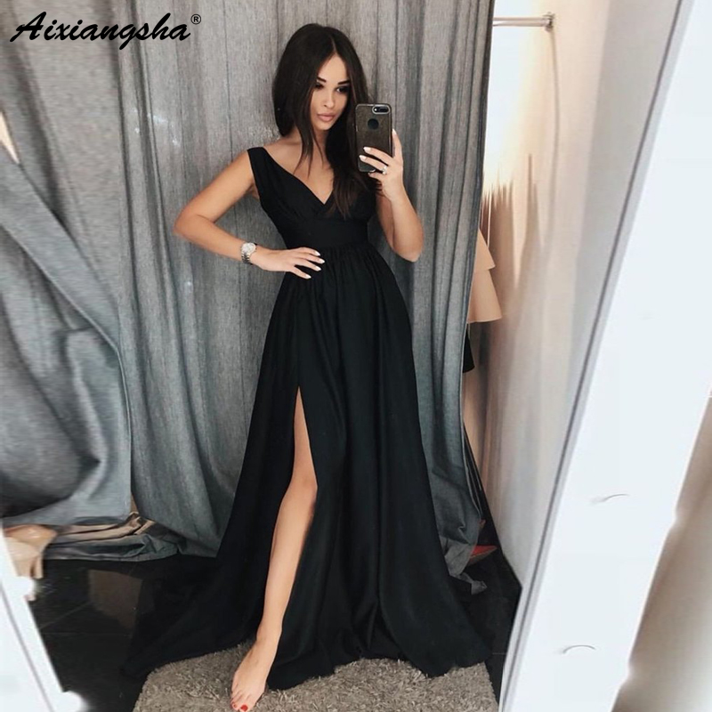 Simple V Neck Chiffon A-Line Black   Prom     Dresses   with Slit Floor Length Cheap Party Gowns 2019   Prom   Long Elegant   Dresses