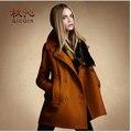 Женские зимние пальто slim fit свободные стиль ЕС большой шерстяные пальто с отложным воротником двубортный шерстяное пальто женщин пальто WE449